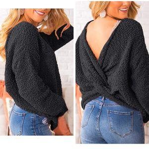 black low back knot popcorn teddy bear sweater